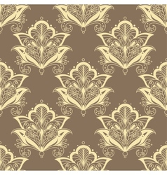 Contoured persian flowers vintage seamless pattern vector