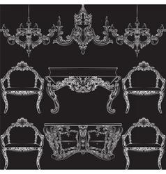 Fabulous Rich Baroque Rococo furniture set vector image vector image