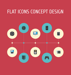 Flat icons display datacenter amplifier and vector