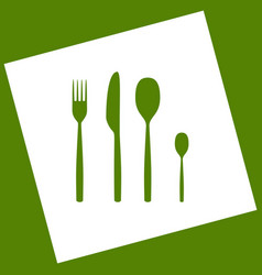 Fork spoon and knife sign white icon vector