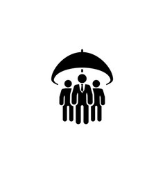 Group life insurance icon flat design vector