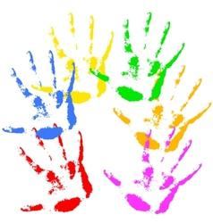 Hand print rainbow colors skin texture pattern vector