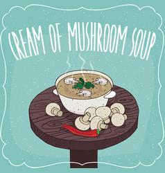 mushroom cream soup and fresh champignon vector image
