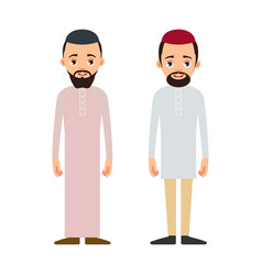 muslim man or arab man cartoon character stand in vector image