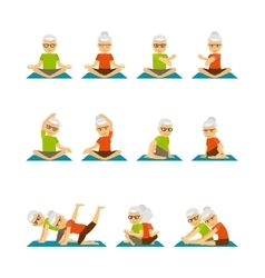 Old people yoga icons vector