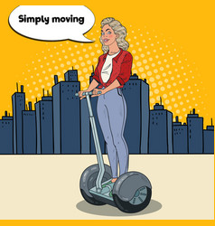 Pop art beautiful woman driving segway in the city vector