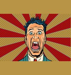 Pop art man screams in horror panic face vector
