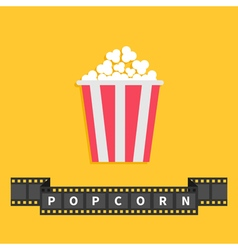 Popcorn big film strip ribbon line with text red vector