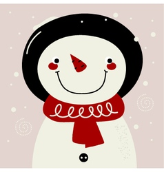 Retro Snowman with red Scarf on snowing background vector image