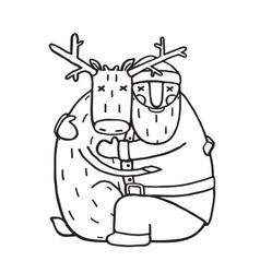 Santa Claus Hug with Deer Outline Flat Design vector image