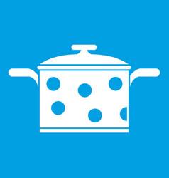 Saucepan with white dots icon white vector