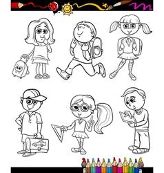 School kids group cartoon coloring book vector