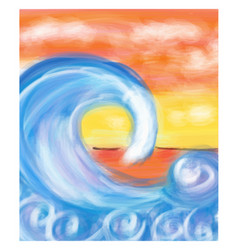 Sea wave at sea and horizon in the distance vector