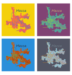 Set of mecca map saudi arabia flat vector