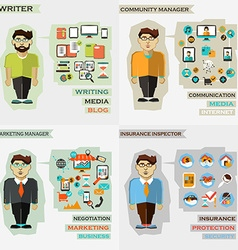 Set of professions Writer community manager vector image vector image