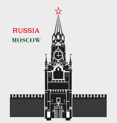 Spasskaya tower of the moscow kremlin in black vector