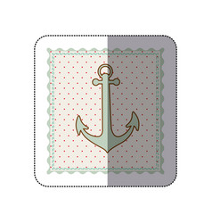 Sticker frame with silhouette of anchor with vector