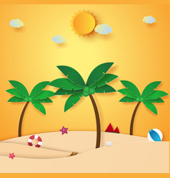 Summer time beach and coconut tree paper art vector