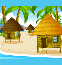 Three wooden cottages on the beach vector