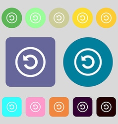 Upgrade arrow update icon sign 12 colored buttons vector