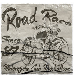 Vintage motorcycle hand drawn tee graphic design vector