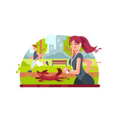 young girl running in park vector image vector image