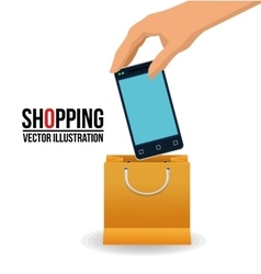 Smartphone and shopping bag design vector