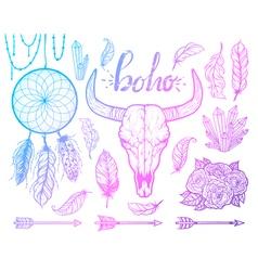 Set of Boho elements Bull skull native Americans vector image