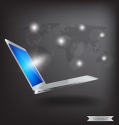 Modern technology thin laptop with social network vector