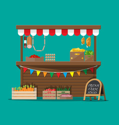 Market food stall full of groceries products vector