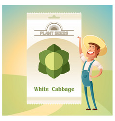 Pack of white cabbage seeds vector