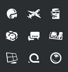 set of fly dispetcher icons vector image
