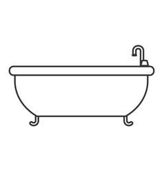 Monochrome silhouette with bathtub icon vector
