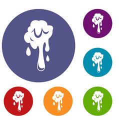 Dripping slime icons set vector