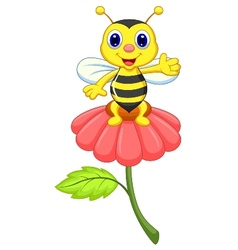 Cute little bee cartoon on red flower vector