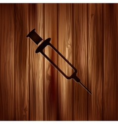 Syringe web icon wooden texture vector