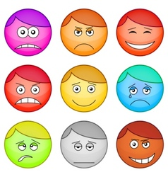 Smilies round set vector