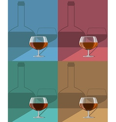 Glasses of cognac set on metal stand with shadows vector