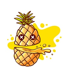 Colorful pineapple cut in half with eyes vector