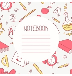 Back to school doodle notebook design and hand vector