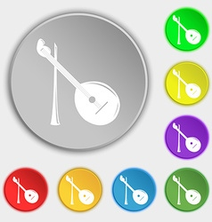 Balalaika icon sign symbol on eight flat buttons vector