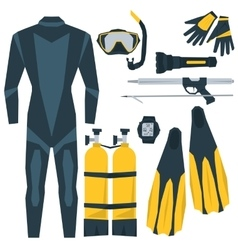 Icons set of diving equipment vector