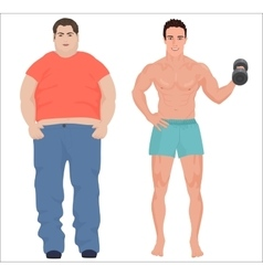 Health sport man and fat man infographic isolated vector image