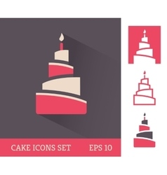 Cake icon set vector image vector image