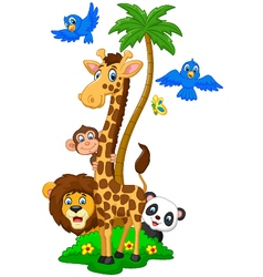 Cartoon island animals vector image