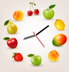 Clock with fruit Diet time concept vector image