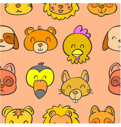 collection animal head doodle style vector image vector image