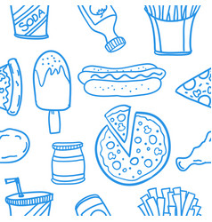 Collection of food set various doodles vector