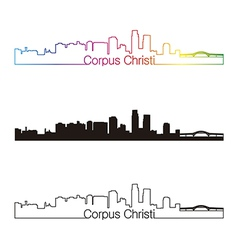 Corpus Christi skyline linear style with rainbow vector image