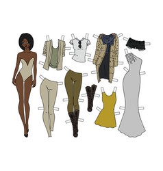 Dressing paper doll vector